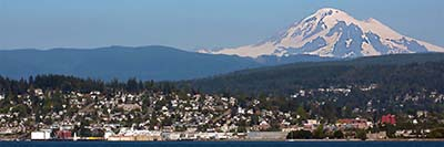 Bellingham, WA In The Foreground With Mount Baker In The Distance